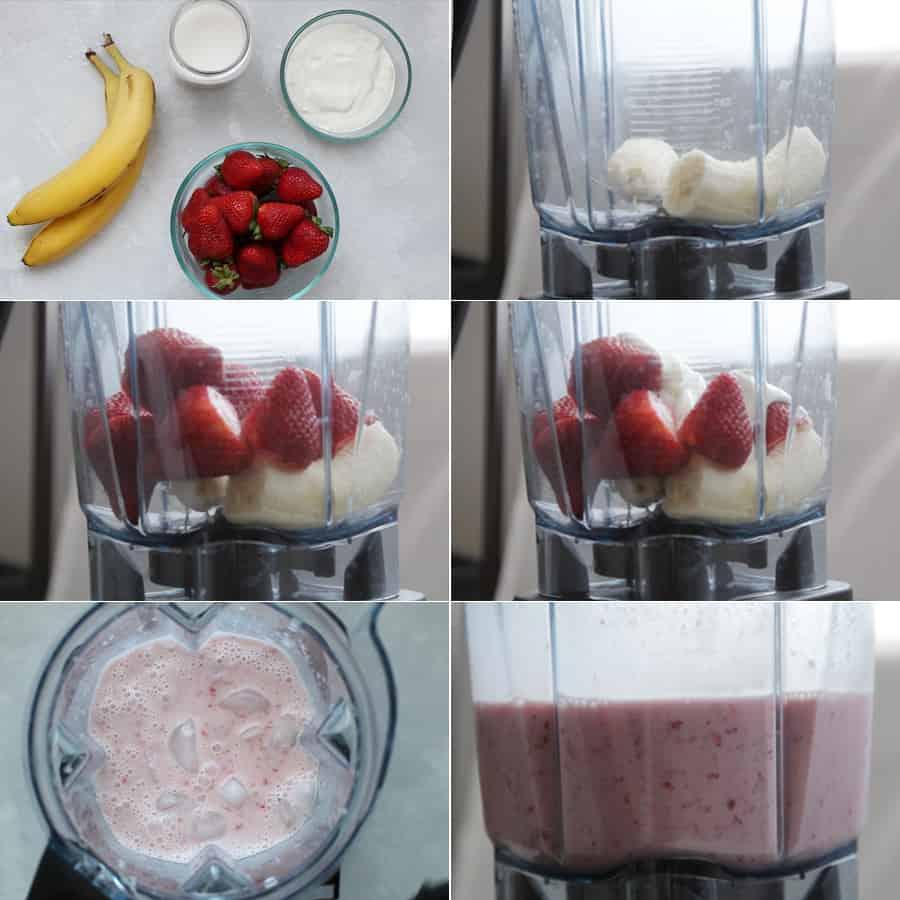 How to make a strawberry banana greek yogurt smoothie, step by step.
