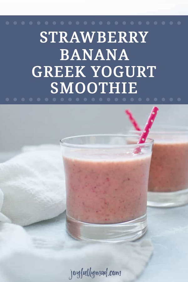 This easy greek yogurt smoothie recipe is the perfect way to start your morning! Strawberry and banana is a classic combination that goes perfectly with creamy greek yogurt in a smoothie!
