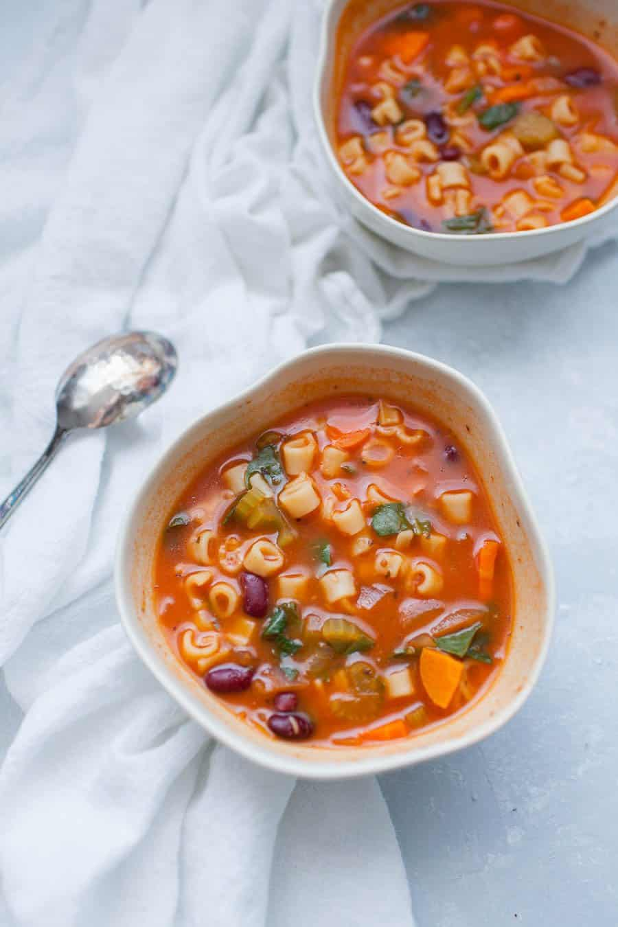 Fall is just around the corner which means it's soup season! You won't need to slave over this one all day though, this quick minestrone soup is packed with veggies and flavor and can be made quickly. This classic soup is hearty and satisfying.