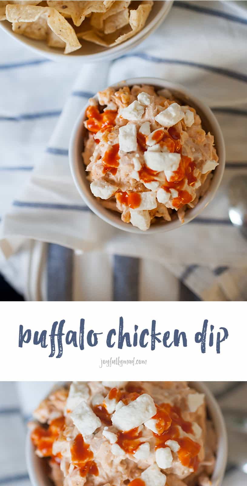 Super easy and quick buffalo chicken dip recipe. The perfect appetizer for the Big Game!