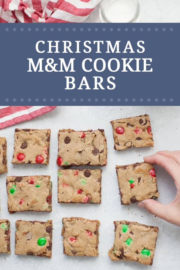 These thick and chewy M&M Christmas Cookie Bars are perfect for your holiday cookie exchange and holiday get togethers! These easy cookie bars are packed with red and green M&M's and chocolate chips in every bite.?