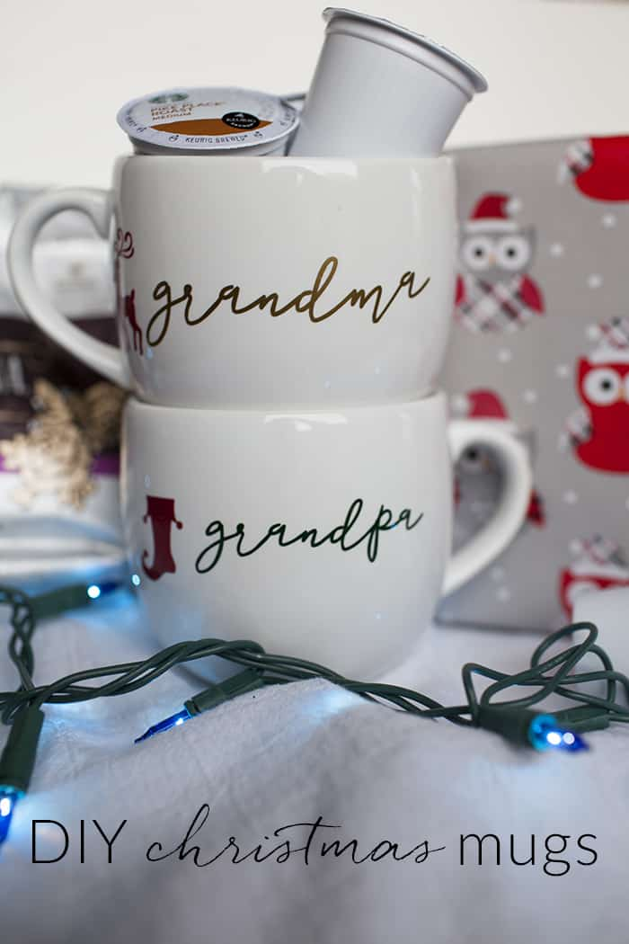 DIY personalized Christmas coffee mugs for everyone on your list this year! Use your Silhouette to create these one of a kind coffee mugs and fill them with your favorite Starbucks variety.