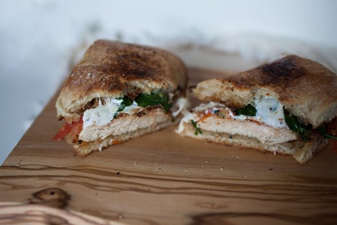 This chicken pesto caprese sandwich is the perfect lunch sandwich!