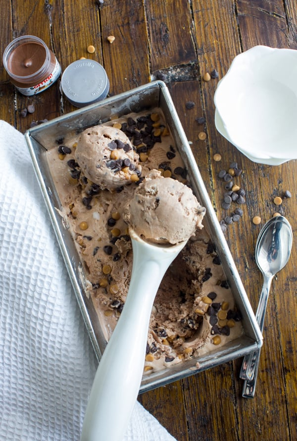 Nutella Peanut Butter Chip No Churn Ice Cream