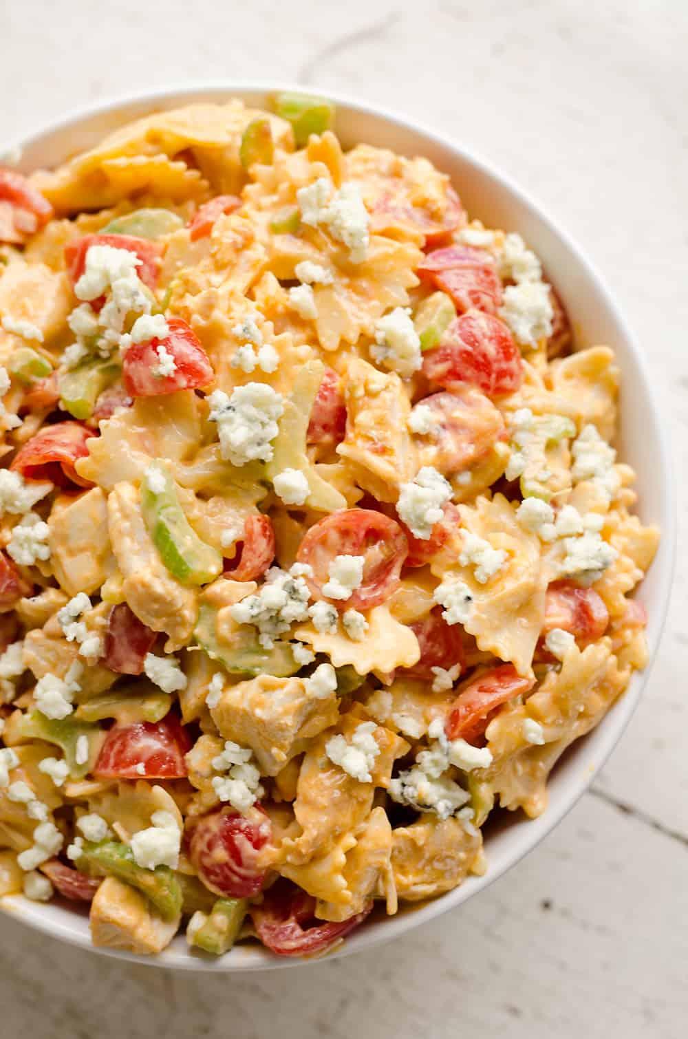 leftover-chicken-recipes-Buffalo-Ranch-Chicken-Pasta-Salad-The-Creative-Bite