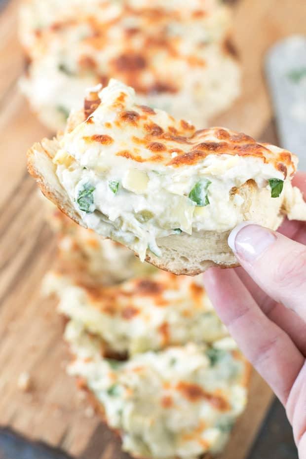 leftover-chicken-recipes-Chicken-Spinach-Artichoke-Dip-French-Bread-Pic-620x930