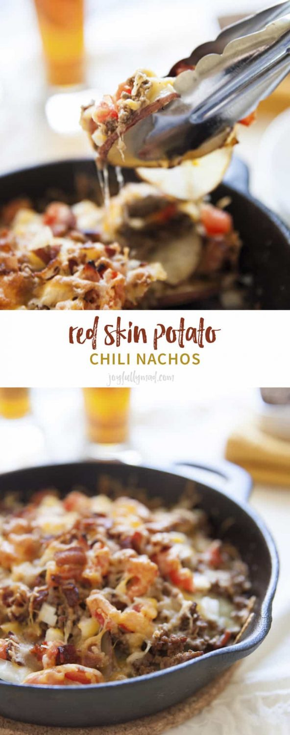 Red skin potato chili nachos make the perfect game day appetizer. Perfect for football food or just a party appetizer or snack!