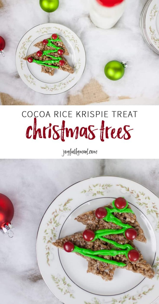 If you're looking for an easy way to ring in the holiday spirit, these homemade Cocoa Rice Krispie Treat Christmas Trees are perfect! Decorate them however you'd like with friends or family!