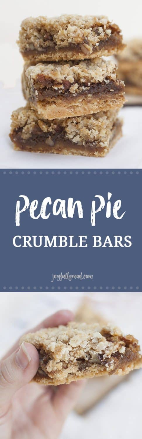 These pecan pie crumble bars are perfect for the holidays or when you need a little holiday spirit any time of the year! These bars?have a?shortbread pie like crust, gooey pecan pie filling, and the easiest crumble topping. After trying these, you may never need pecan pie again. If you're not usually a fan of pecan pie, give these pecan pie crumble bars a shot, they just may surprise you!?