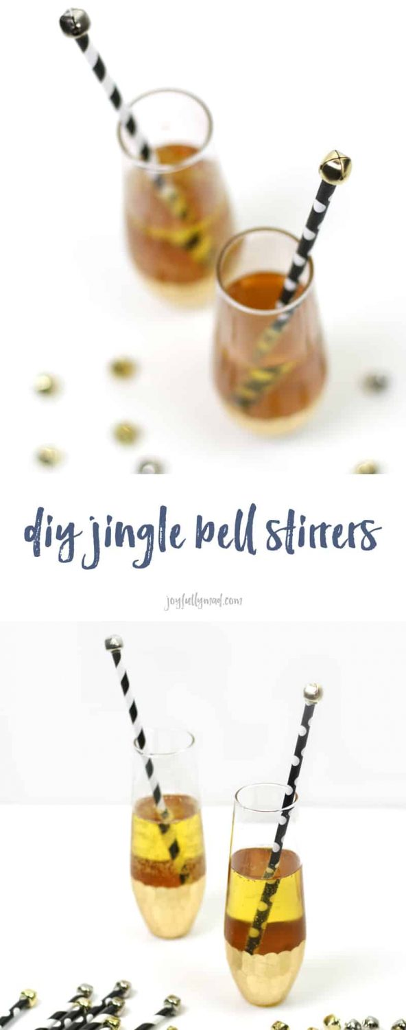 How to make these easy DIY Jingle Bell Drink Stirrers! So cute for Christmas or New Year's Eve. (via joyfullymad.com)