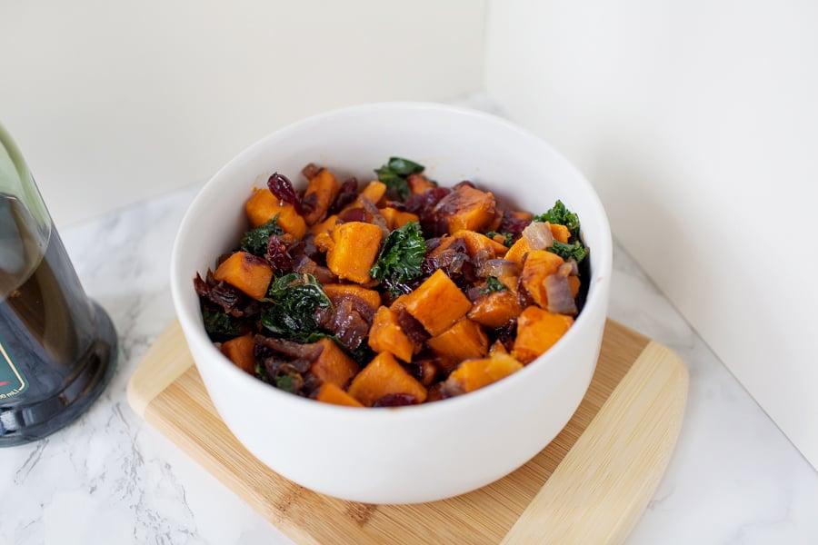 Balsamic Vinegar Sweet Potato Kale Sauté