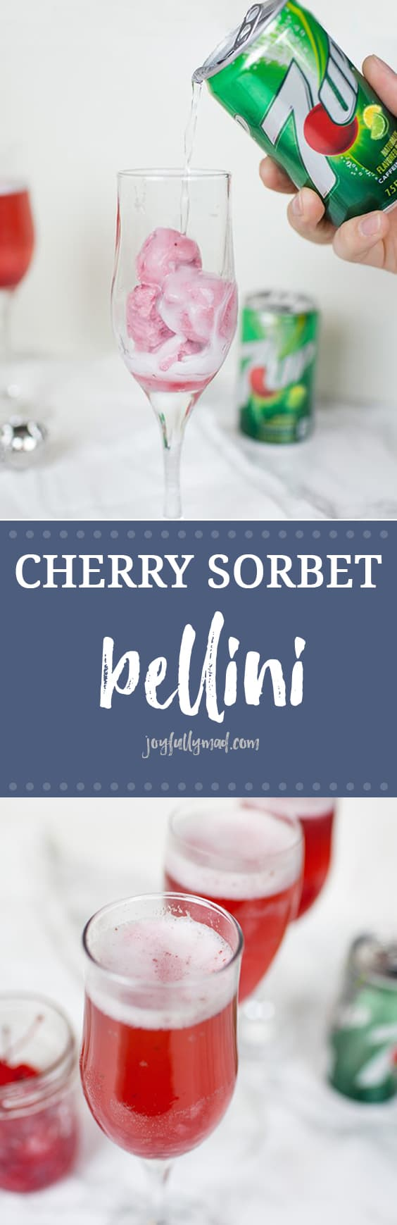 Cherry Sorbet Bellinis make the perfect easy party cocktail and punch idea for any party! Using 7UP?, champagne or prosecco, and black cherry sorbet, you can have a beautiful cocktail that?s perfect for sharing! 7up | 7up cocktail | 7up drink | party drinks | party cocktails | shower drinks | proseco cocktails | champagne cocktails | baby shower punch recipe | bridal shower punch recipe | football drink recipes | valentine's day drink recipe