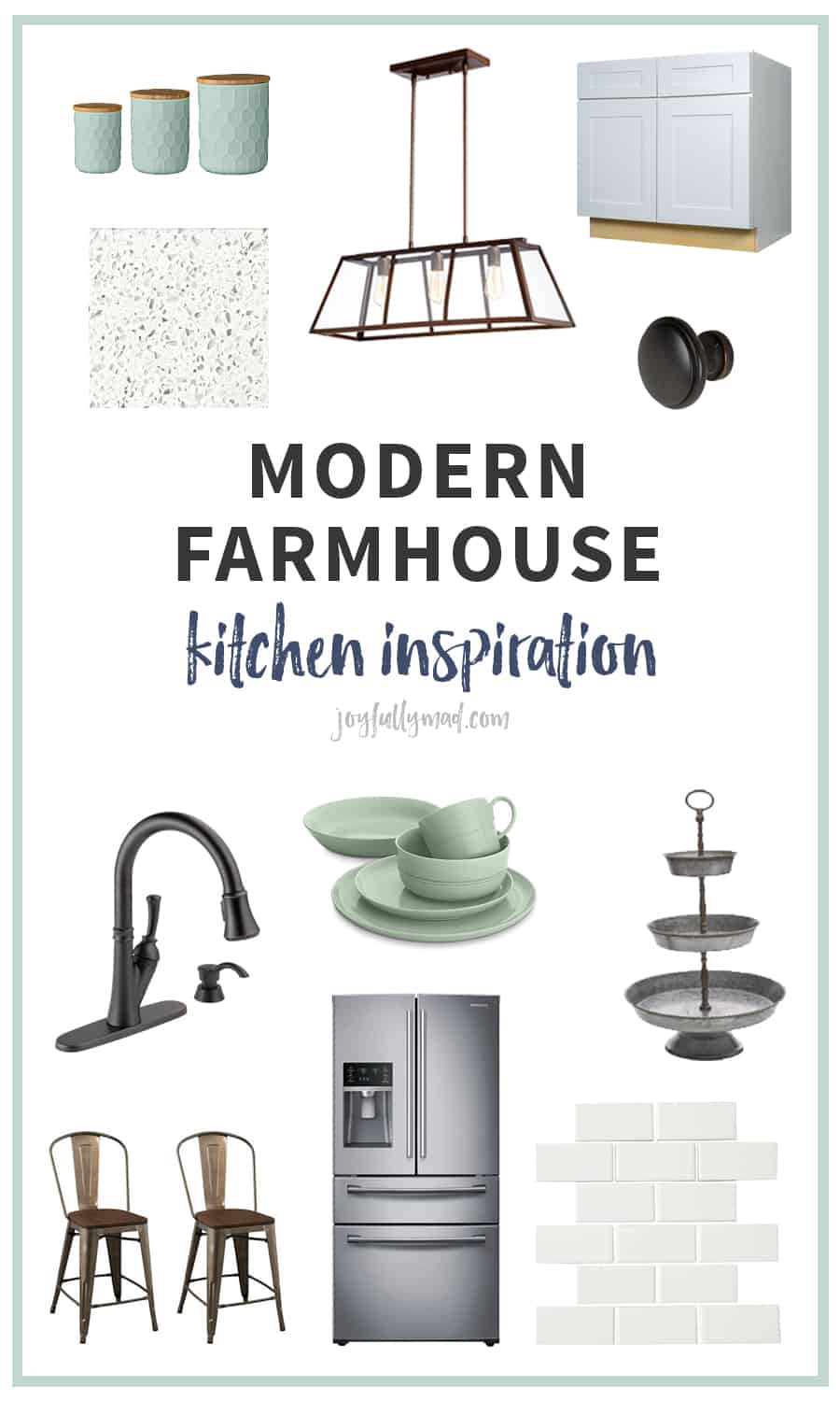 Planning your dream kitchen? Here's what inspired us when we built our dream modern farmhouse kitchen! White shaker cabinets and sparkly quartz plus oil rubbed bronze accents and hardware.