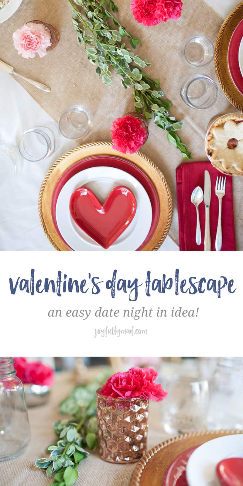Looking for an easy date night in for Valentine's Day this year? This easy tablescape is the perfect way to wow your sweetheart this year. Plan a gorgeous tablescape with stacked plates of different colors, mixed metals and fresh carnations for a stunning look! valentines day ideas   date night at home   date night   valentines day dinner   valentines day table   valentine's day decor   valentines ideas   steak dinner ideas