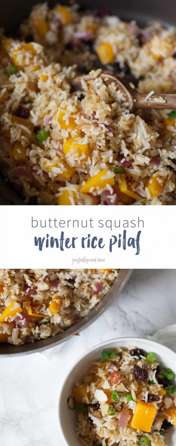 Looking for an easy side dish you can whip up in 15 minutes? This butternut squash filled winter rice pilaf is the perfect side dish to get on the table in just minutes and enjoy a hearty, winter flavor-filled dish! rice recipe | rice pilaf recipe | easy side dish | side dish recipe | quick side dish recipe | butternut squash | almond slivers | cranberries | rice pilaf