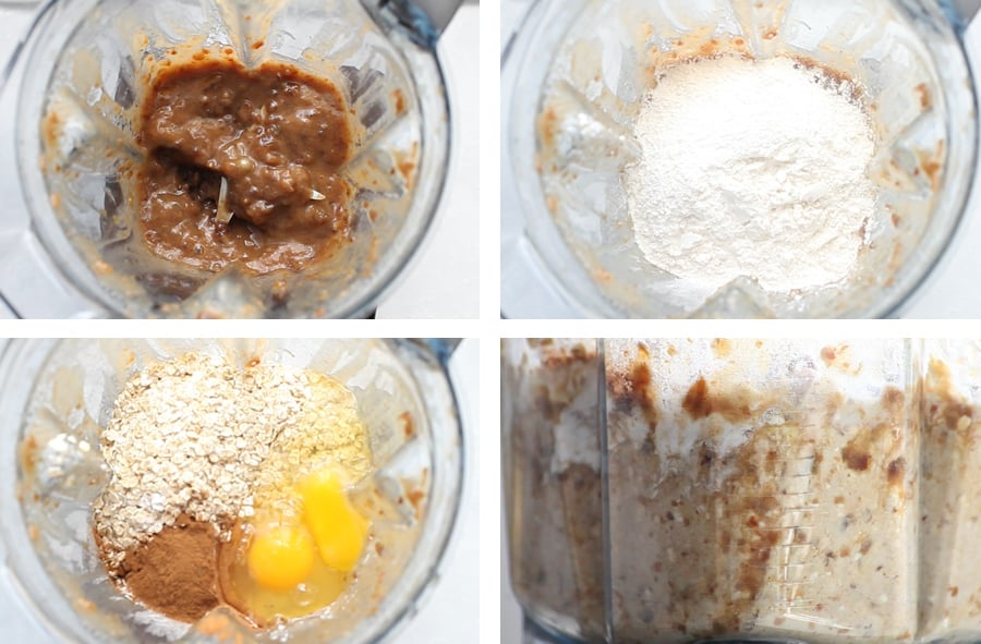 A collage of 4 photos showing the process of making the blueberry muffins