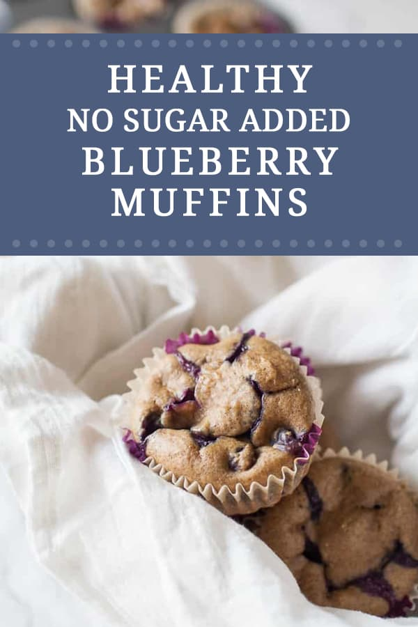 Pinnable graphic with recipe name and close up image of a muffin nestled in linen