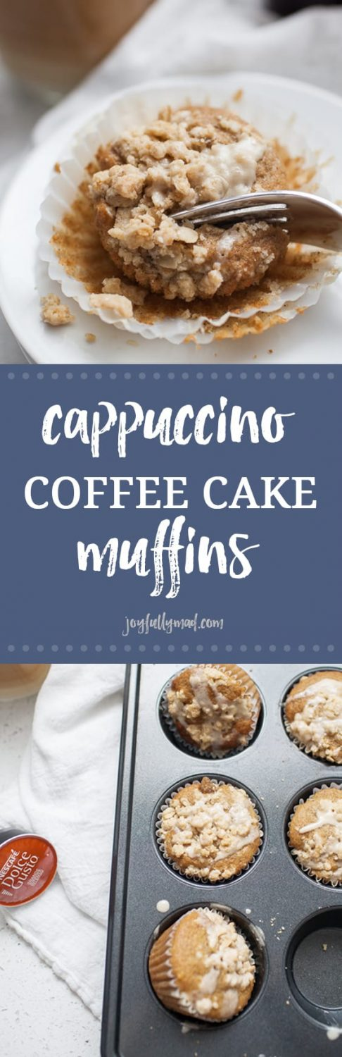 These cappuccino coffee cake muffins are the perfect way to start your morning! A twist on a classic coffee cake recipe, these muffins have a crumble toppings and cappuccino icing drizzled on top. These make the perfect quick breakfast or a baked good to bring to a friend or neighbor.