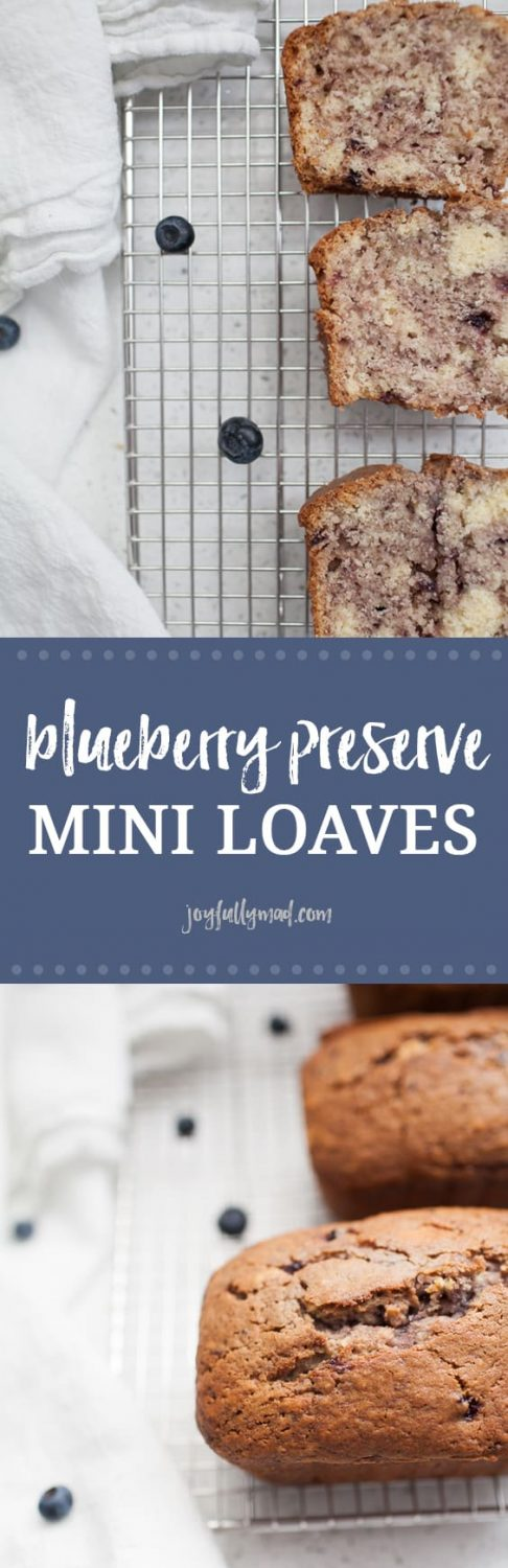 This recipe for blueberry preserve mini loaves is a twist on a family classic recipe. These mini loaves are perfect for a gift, snack, or freezing for later! This quick bread recipe is so easy to make and the flavor is perfectly balanced.