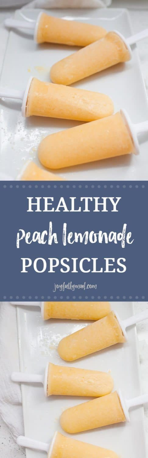 These healthy peach lemonade popsicles are the perfect summer treat! Cool down with these refined sugar free, creamy, fruity pops.