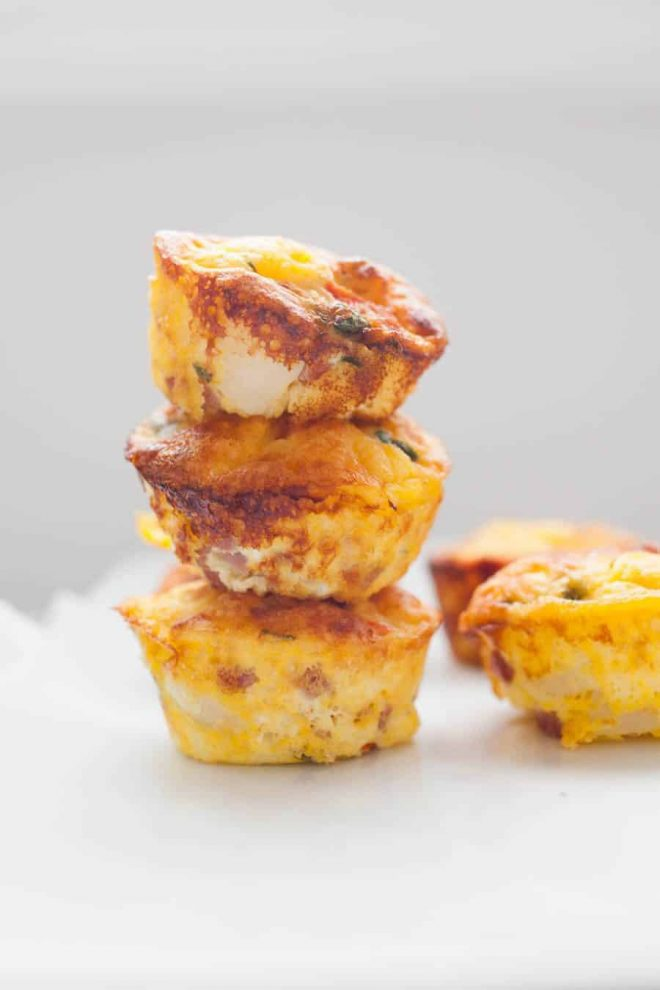 Egg muffins stacked.