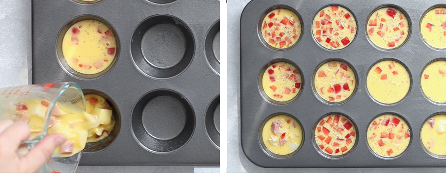 collage of two images showing the muffins tin being filled with the egg mixture.