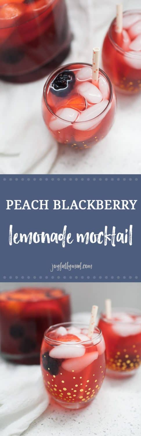 This peach blackberry lemonade is the perfect lemonade mocktail for any occasion! Baby showers, bridal showers, or just because, this peach blackberry lemonade is perfectly sweet and tart. This lemonade is a fruity version of a classic that everyone will love!?