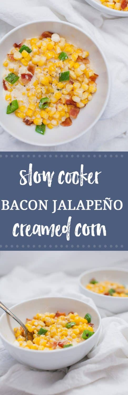 Looking for an easy comfort side dish that can be prepped ahead of time and is bursting with flavor? This Slow Cooker Bacon Jalape?o Creamed Corn is a family favorite that's perfect for fall! Made with corn, cream cheese, roasted jalape?os and bacon, this is not your average side dish.?