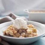 This fall apple crisp is an easy dessert that is perfect for any occasion this fall! Made with a mix of sweet and tart apples and topped with the perfect brown sugar oat crumble topping! It's best served warm with a scoop of ice cream but no matter how you eat it, it will be a crowd pleaser for sure.?