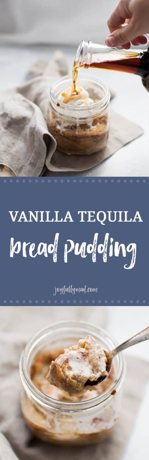 This Vanilla Tequila Bread Pudding is the perfect easy dessert to serve to a crowd or just for two! This boozy bread pudding has the perfect blend of spices and is topped with a scoop of ice cream and a splash of vanilla tequila.?
