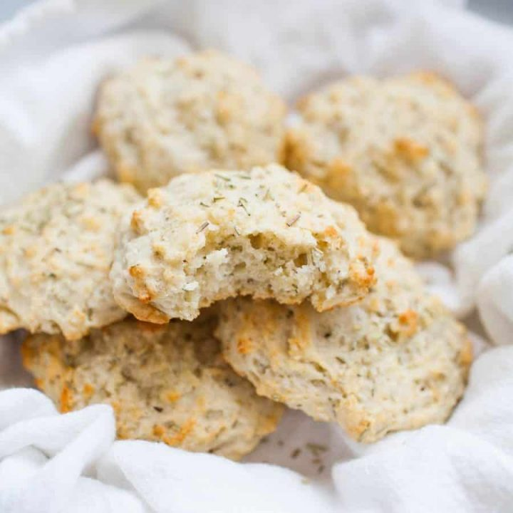 Love having bread with your dinner? These quick, goat cheese rosemary drop biscuits are the solution! These biscuits will trump any store bought bread and the best part is they're ready quickly. Start with a basic drop biscuit recipe and add in a hint of goat cheese and rosemary for a buttery, creamy biscuit. Serve with a slab of butter or as is and you have the perfect bread component to any dinner!?