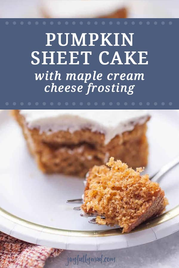 Pumpkin sheet cake is the perfect dessert to share this fall! It's packed with fall spices and pumpkin, so it's bound to be a hit! It's so easy to make and share with friends! The maple cream cheese frosting makes this dessert almost irresistible.