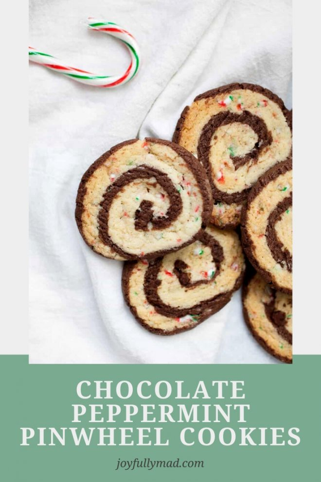 Stack of pinwheel cookies. Pinterest graphic.