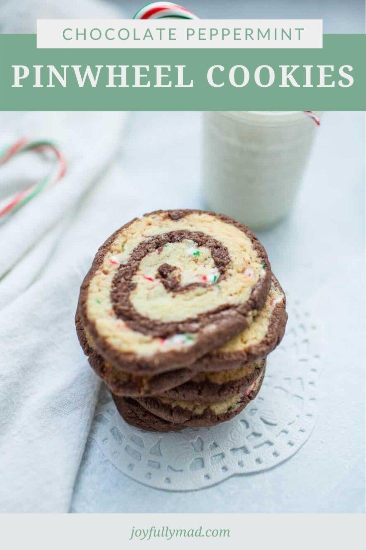 Stack of pinwheel cookies. Pinterest graphic.