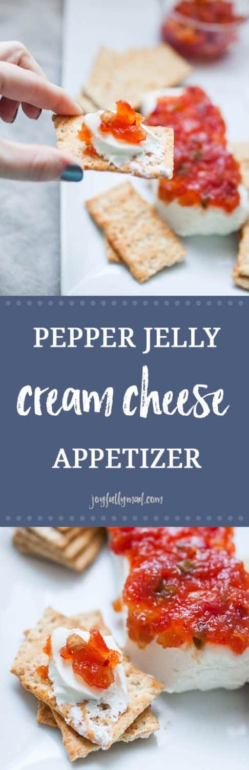 Quick appetizers are a must for parties and family get togethers! This Pepper Jelly Cream Cheese Appetizer is a huge holiday tradition because it's super easy to make and the whole family can enjoy it! It's simply a block of cream cheese with your choice of pepper jelly or fruit preserve on top, served with Back to Nature Pink Himalayan multi-grain crackers. The combination is a perfect blend of sweet, spicy and salty!