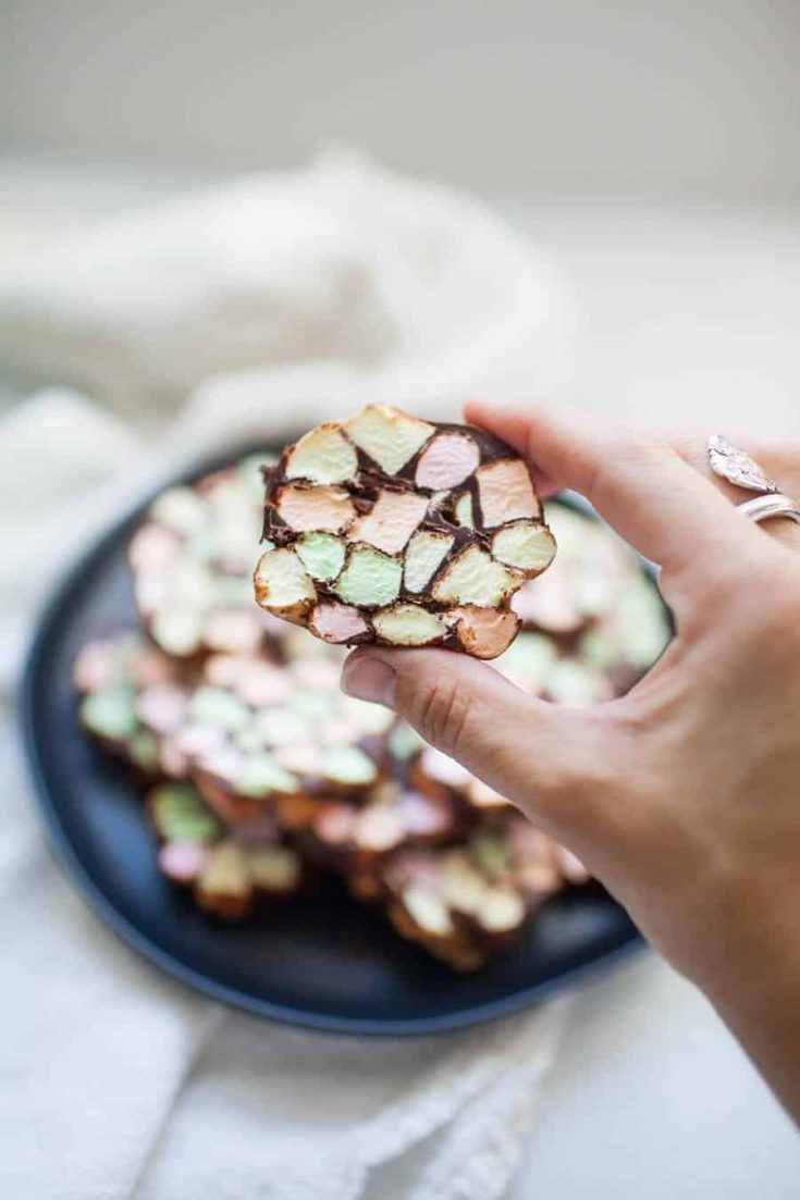 Looking for a different kind of treat to bring to a holiday get together this year? Stained Glass Window No Bake Cookies are one of the easiest desserts you can bring to a party and they're bound to be a hit! Anyone can make these no bake treats that are made with butter, mini colored marshmallows and melted chocolate chips. The mixture is rolled into logs and sliced into one inch thick cookies.?