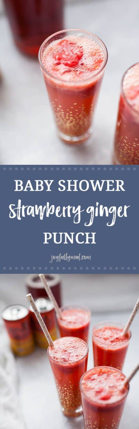 Looking for the perfect, easy drink recipe to serve at a baby shower or brunch? This no sugar added, strawberry ginger punch is perfect for showers, parties, or just for a fun non-alcoholic drink for anytime! It's made with stevia-sweetened ginger beer, homemade strawberry sorbet and a splash of cranberry juice. This punch is flavorful and just sweet enough, without any artificial or added sugars!?
