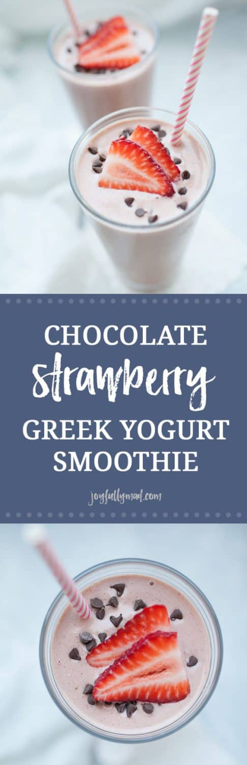 Breakfast should be simple, yet delicious and this recipe for Chocolate Strawberry Greek Yogurt Smoothie definitely covers both! This greek yogurt recipe is simple yet so delicious. If having chocolate for breakfast is wrong, I certainly don't want to be right! This smoothie is packed with protein from greek yogurt and almond milk too, so this is a breakfast that will keep you full.