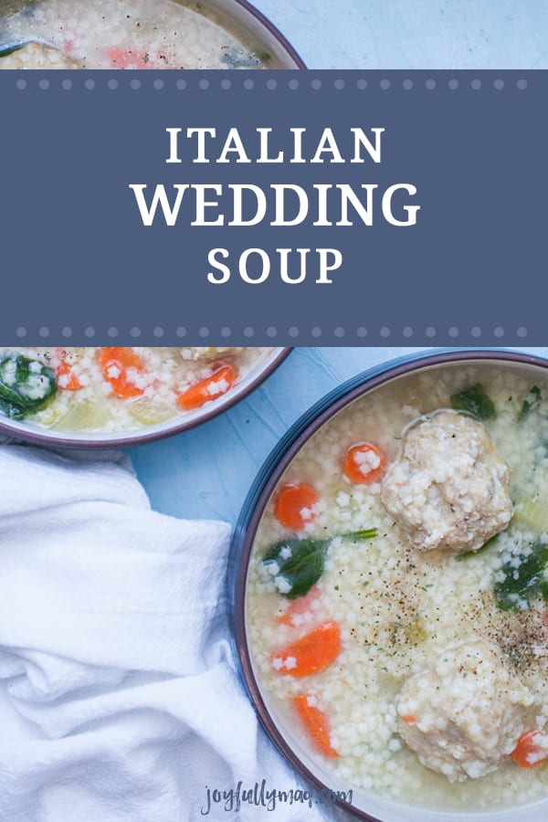 Regardless of the time of year, this Italian Wedding Soup is a classic soup recipe that you can make right at home and enjoy. It's packed with yummy vegetables like spinach, carrots, celery and onions plus the addition of small pasta and homemade chicken meatballs! This soup is one the entire family will enjoy.