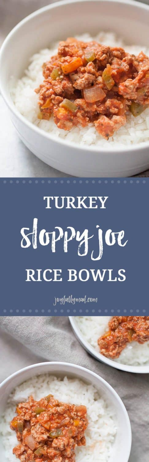 Looking for a gluten free, healthy sloppy joe recipe for the whole family? These Turkey Sloppy Joe Rice Bowls are made from scratch, so there is no added sugar or extra ingredients, only the ingredients that add tons of flavor to this easy weeknight dinner! Ground turkey, green and orange bell peppers, onions and spices all served over a bed of white rice makes this a perfect family friendly healthy meal.
