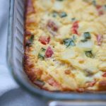 This Baked Breakfast Egg Casserole is the perfect breakfast for large groups or to meal prep for the week ahead! It's made with potatoes, peppers, eggs and milk and is so hearty! It has such simple ingredients but packs a ton of nutrition and taste into every serving. Make this ahead of time and have a hot breakfast ready to go all week or make this for a crowd- either way, you're sure to love it!?