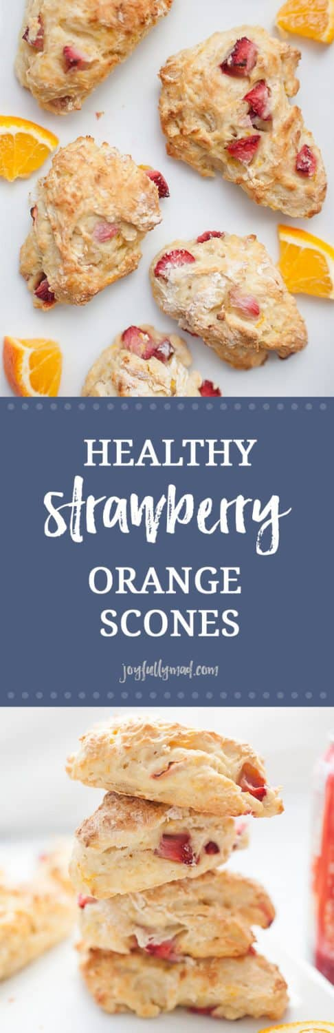 Scones don't have to be sugar filled and overly sweet-- these healthy strawberry orange scones have no refined sugar, just natural fruit and stevia to sweeten them! They're light, fluffy and have the perfect amount of strawberry and orange flavor. These healthy scones are the perfect breakfast or snack for the entire family!?sugar free scones | healthy scones | strawberry orange scones | stevia scones | strawberry scones | healthy orange scones | healthy strawberry scones | sugar free baking | stevia baking | sugar free scone recipes