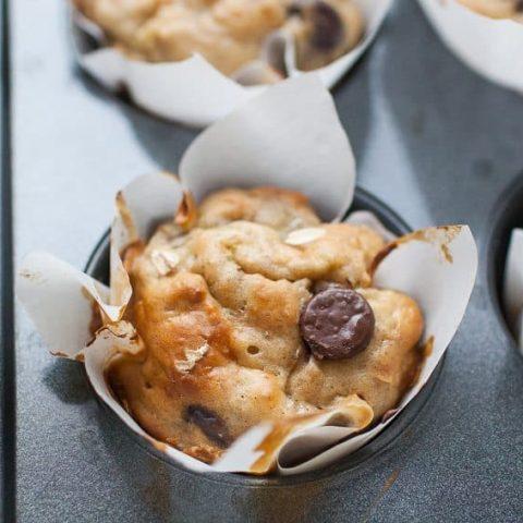 Healthy Banana Chocolate Chip Yogurt Muffins