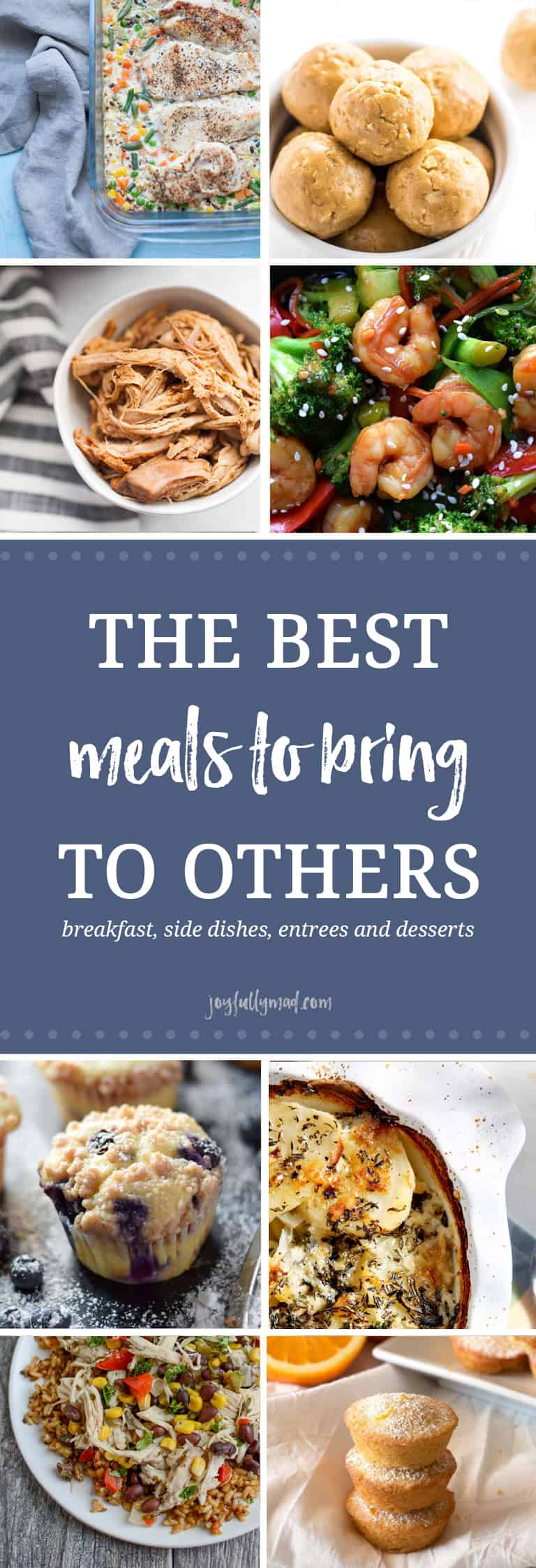 There are so many options of meals that you can bring to someone! Breakfast items like muffins and casseroles, snacks and side dishes, main courses like casseroles and soup, and of course, desserts are all great things to bring over to someone in need.?
