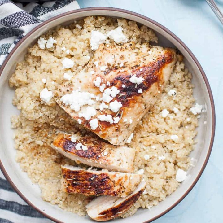 Pan Seared Peach Balsamic Chicken is a healthy, simple weeknight dinner that the whole family will enjoy. Mix up a quick marinade with olive oil, peach balsamic vinegar and spices, let it sit for a little while in the fridge, then pan sear and cover to let it cook through.?