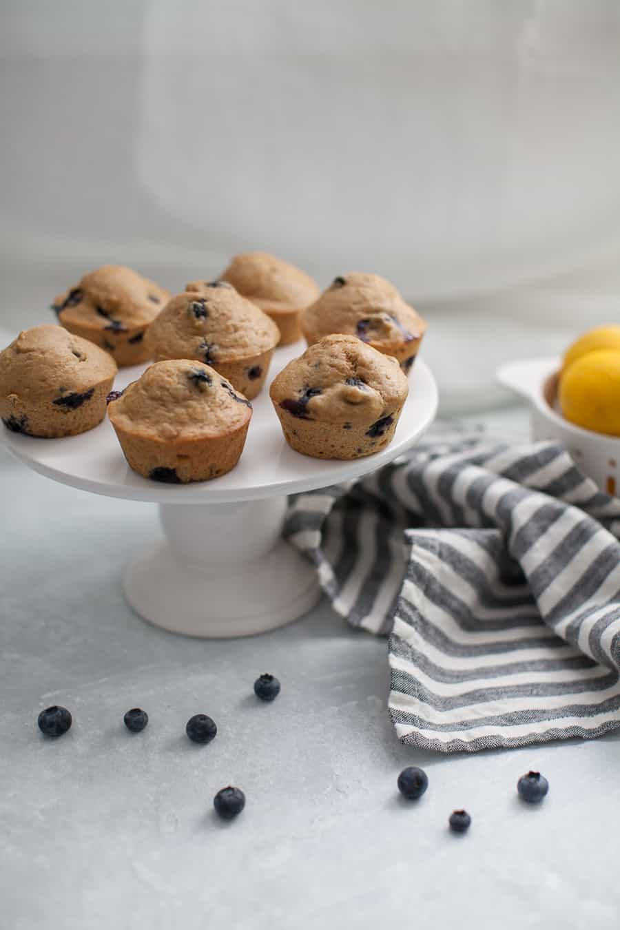 Healthy Lemon Blueberry Muffins are the perfect thing to kick off the school year. These muffins can easily be made ahead of time for the week and are perfect for serving to your kids. They'll love the sweet taste of the blueberries and you'll love that they're refined sugar free and healthy for them!