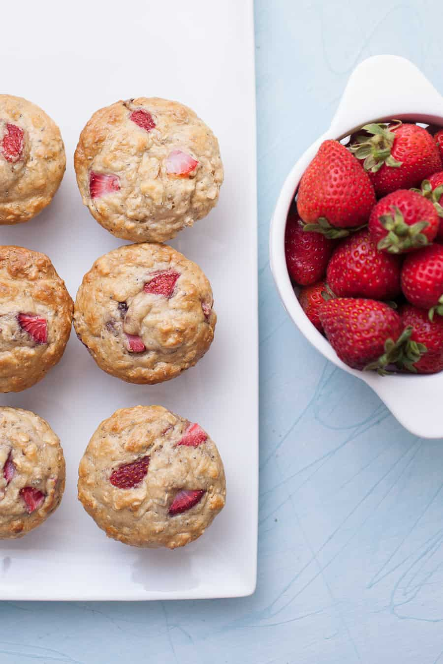 No Sugar Added Strawberry Chia Seed Muffins are such a fun treat to have on hand this week! They are so easy to make, no fancy ingredients required, even though they are sugar free! These no sugar added muffins get their sweetness from applesauce and strawberries, which are really the star of the show. Pack in some extra protein with chia seeds and these muffins are a true powerhouse.?