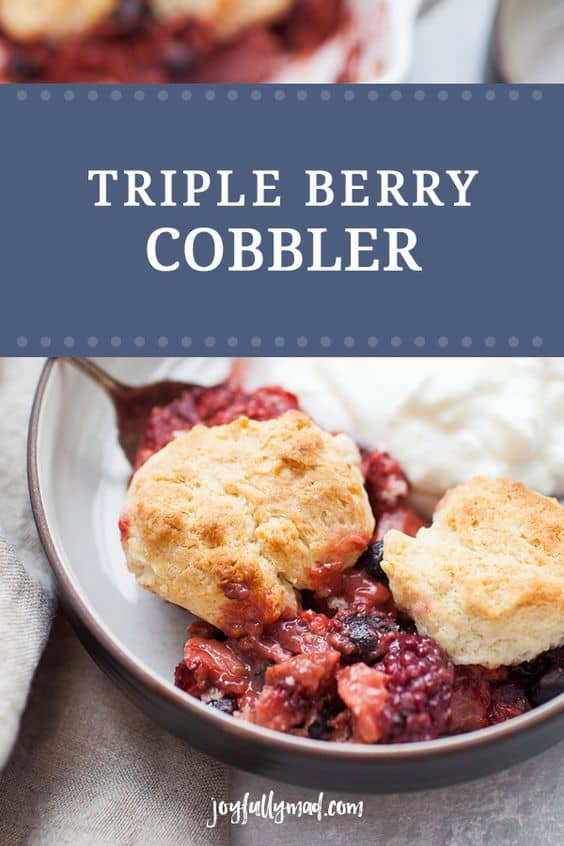 Triple Berry Cobbler is the perfect dessert for sharing. Mix up some fresh berries, add a bit of flour and bake until the fruit is nice and bubbly, then top with quick homemade biscuits. Serve with a scoop of ice cream or a dollop of yogurt for a sweet but light treat! This is a crowd pleaser dessert when you need one!