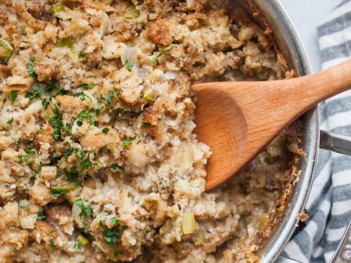Stovetop Sausage Stuffing | A Joyfully