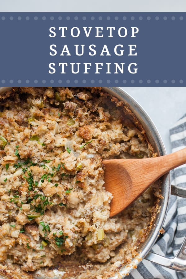 Stovetop Sausage Stuffing is the best stuffing recipe for the holidays! It's made on the stove, so you don't have to worry about it taking up room in your oven. The browned sausage adds so much flavor and you won't believe that there are only FIVE ingredients in this easy stovetop sausage stuffing recipe!